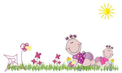 Dos bebés, flores y chupetes