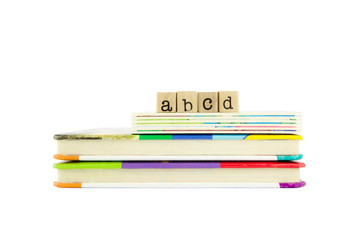 abcd word on wood stamps and children's board books