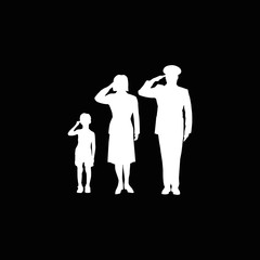 Soldier family salute, isolated, white on black background