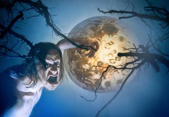 Halloween. devil on moon background