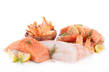 Foto op Canvas Vis assortment of raw fish