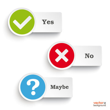 Yes No Maybe Round Icons