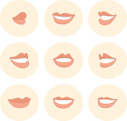 Pink set of female lips