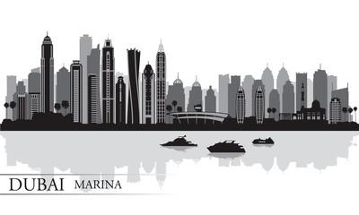 Dubai Marina City skyline silhouette background