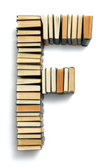 Letter F formed from the page ends of books