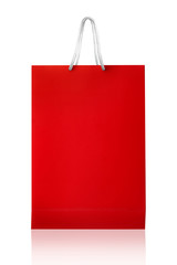Red shopping bag, isolated with clipping path on white backgroun