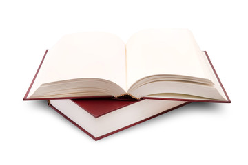 open books on white background