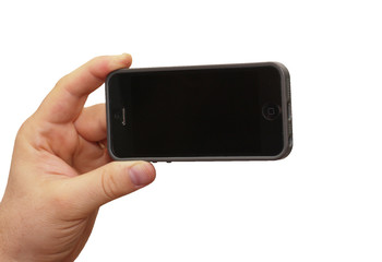 hand holding smartphone to take a picture