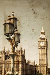 Fototapete - Big Ben mit alter Straßenlaterne in nostalgischer Bearbeitung