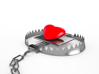 Red heart in a trap, isolated on white background