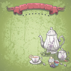tea service with tea leaves, and fruit cakes