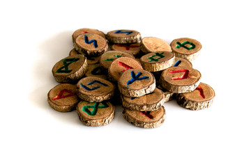 hand carved and painted wooden oak runes