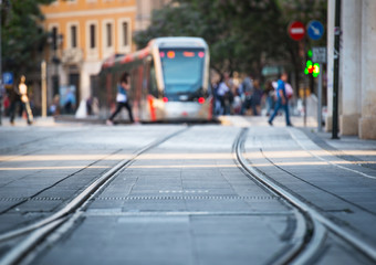 Photo sur Aluminium Milan tram and rails