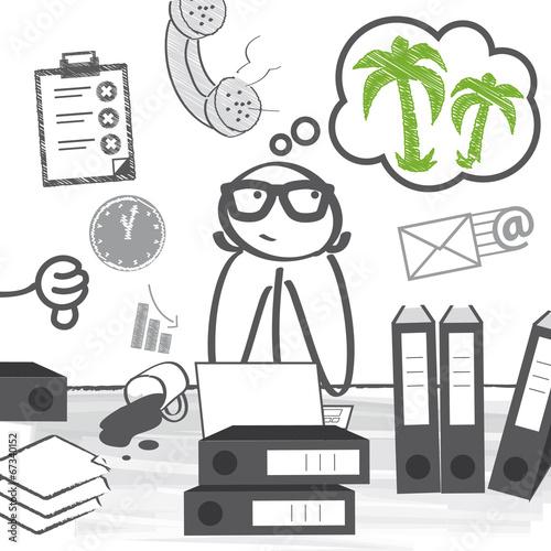 Arbeitsplatz zeichnung  Urlaubsreif Stress am Arbeitsplatz