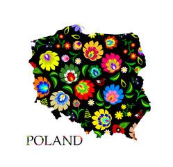 Obraz Poland shape filled with traditional Polish folk pattern vector - fototapety do salonu