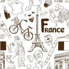 Sketch France seamless pattern