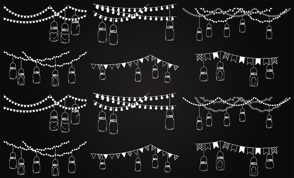 Vector Collection of Chalkboard Style Mason Jar Lights