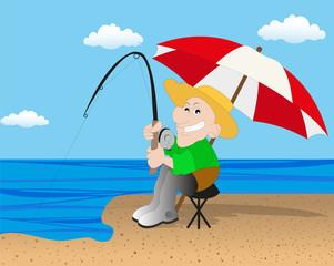pescatore sulla spiaggia