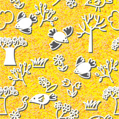Birds and spring trees seamless