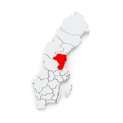 Map of Gavleborg. Sweden.