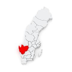 Map of Vastergotland. Sweden.