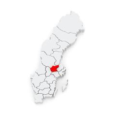 Map of Vasteras. Sweden.