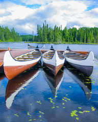 Poster Canada Canoes reflected on a turquoise lake, Quebec, Canada