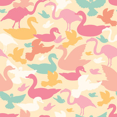 Colorful birds silhouettes seamless pattern background