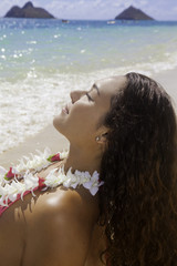 polynesian beauty at the beach