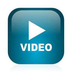 video blue glossy internet icon