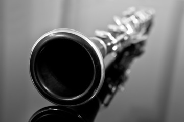 Wall Mural - Clarinet in black and white