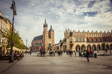 The St Mary church at the market in Krakow in Poland