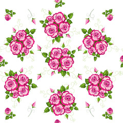 Floral seamless pattern with roses - vector illustration.
