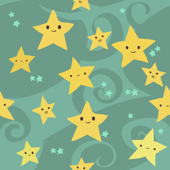 Vector cartoon flat Stars pattern.