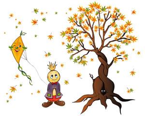 Herbstmotiv  Vogelscheuche Baum Drache