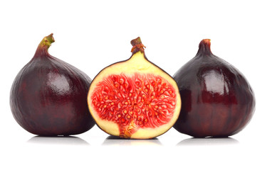Three fresh figs isolated