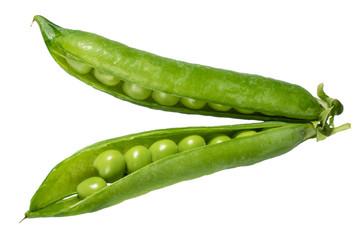 Fresh green peas in the pod