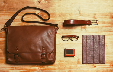 Male accessories style concent. Brown leather bag, box with fren