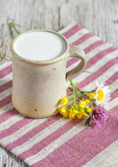 Fresh milk in ceramic mug and flowers
