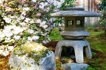 Stone latern sculpture in Japanese garden
