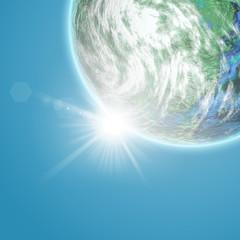 Fictional Earth planet against a blue sky