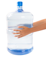 Girl hands with a large mineral water container