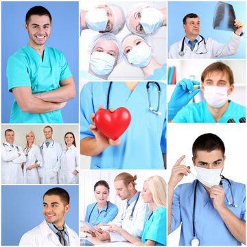 Medical workers collage