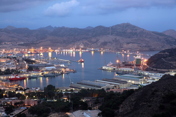 Harbor of Cartagena at night. Region of Murcia, Spain