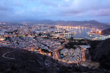 City of Cartagena at night. Region of Murcia, Spain