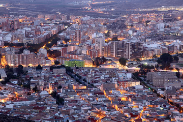 Wall Mural - City of Cartagena at night. Region of Murcia, Spain