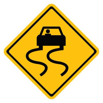 Warning traffic sign Slippery road