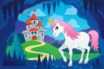 Fotobehang Pony Cute unicorn in fairy tale cave