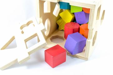 colorful wooden toy blocks isolated