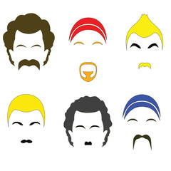 Icons colorful hairstyles. Raster